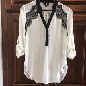Tops - Black and white button top